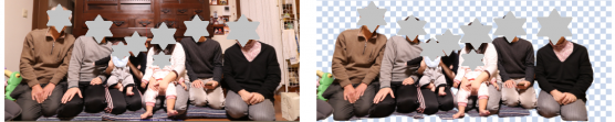 Remove.bgの写真画像から集合写真の人物背景を削除したサンプル